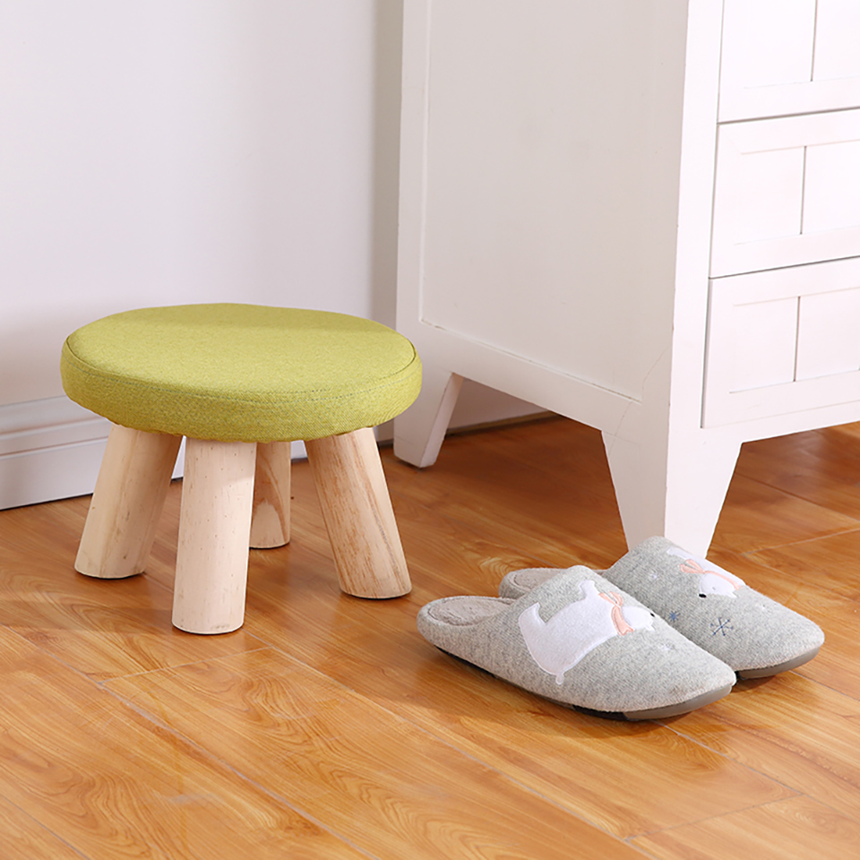 Cute Small Children Chair Wood Stools Kids Shoes Sofa with Creative Simple Plush Cartoon Round Shoe Chair  Kindergarten Chair