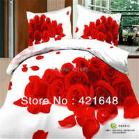 Free Shipping Unique Bedclothes Cotton Red Rose 4pcs Bedding Set 3d Queen Size Bed Sheet Linen