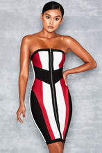 Top Quality Red White Black Strapless Geometric Rayon Bandage Dress Cocktail Party