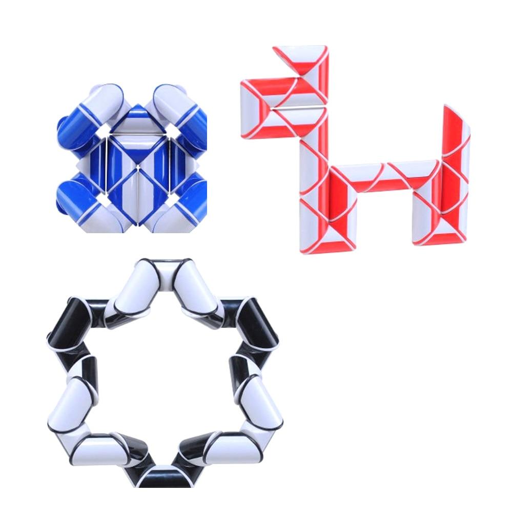24 Blocks Original Ruler Magic Cube Puzzle Shengshou Magic Ruler Cube Snake Twist Puzzle Educational Toy for Children 6 Colors