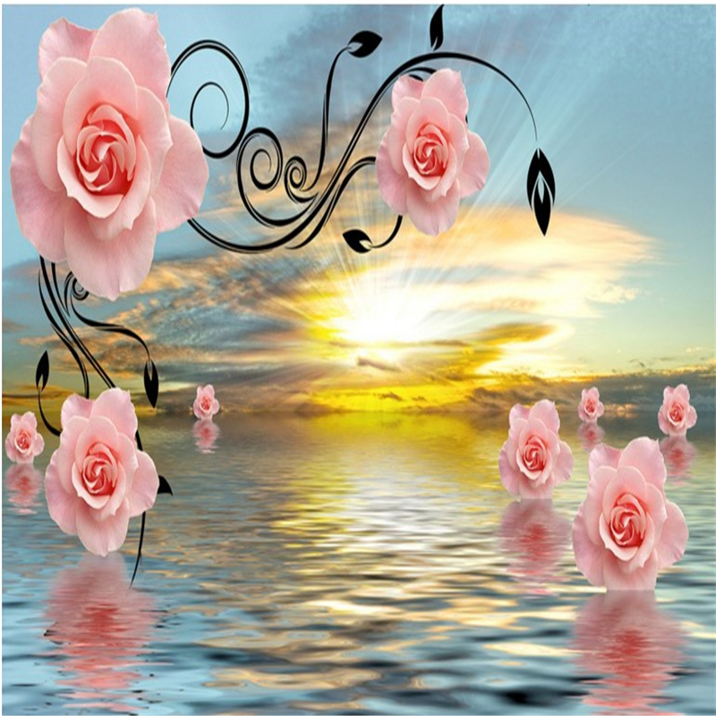 Us 885 41 Offbeibehang Large Scale Custom Wallpaper Beautiful Rose Pattern Sunrise Flower Sea Tv Background Wall Decoration Painting In Wallpapers