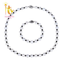 [NYMPH] Pearl Jewelry Set Real Freshwater Pearl Necklace Bracelet Choker Beads Stone Necklace New Party For Women[T208](China)