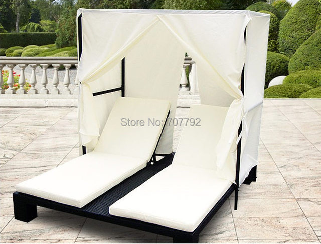 Mode wicker rattan sonnenbank outdoor lounge sessel mit baldachin in ...