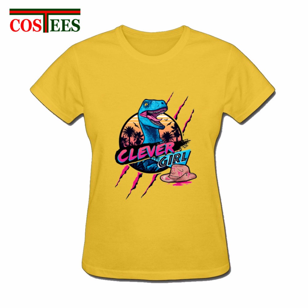 Hotline Miami Clever Girl T shirt women femme Jurassic <font><b>tshirt</b></font> Energy <font><b>Dinosaur</b></font> park T-Shirt woman camisetas lady tee shirt female image