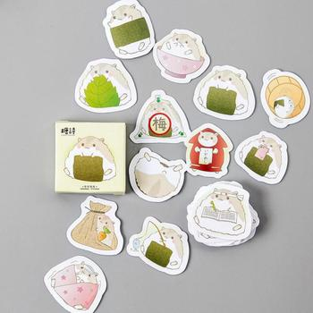 Box Shaped Sticky Creative Hamster Adhesive Paper Stickers Student Journal Hand Account Decoration Seal Diy Label Sticker serveware