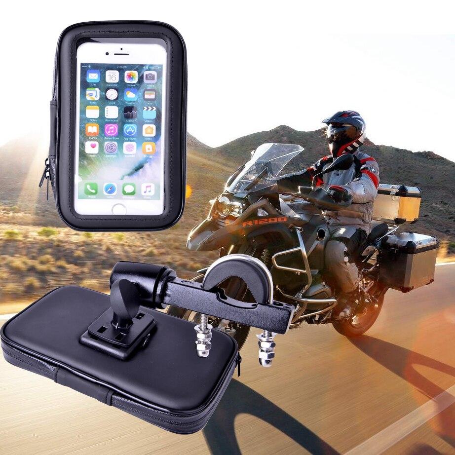 Motorrad Handyhalter Montieren Phone Standfuß für iPhone7 5 S 6 Plus GPS Fahrradhalter mit Wasserdichte Tasche soporte movil moto