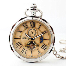 Fashion Open Face Tourbillon Moon section Mechanical Pocket Watch Roman Number Hand Wind Luminous Fob Watch+Gift Box