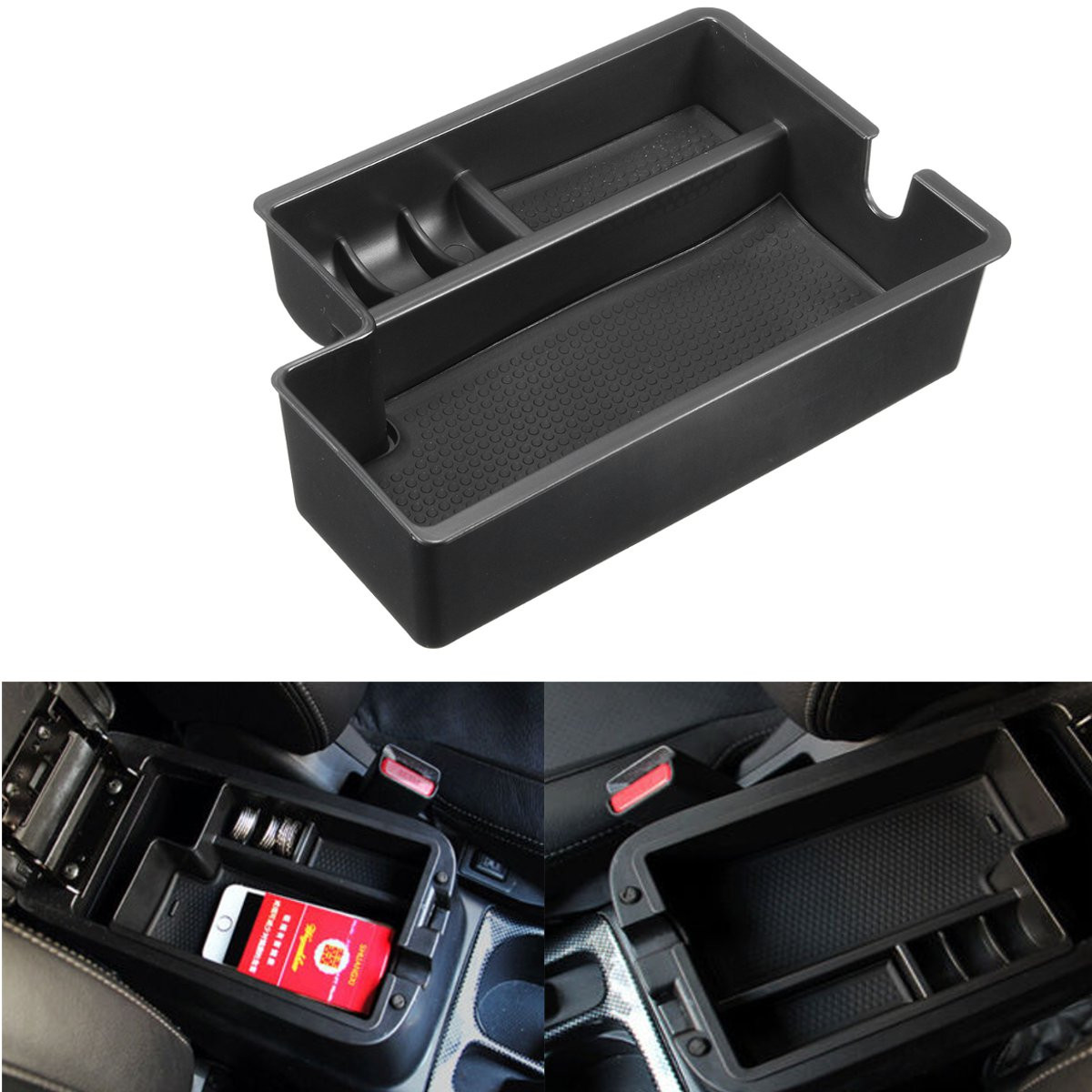 Black Car Armrest Container Central Storage Pallet Box Case For Mitsubishi Outlander 201 ...