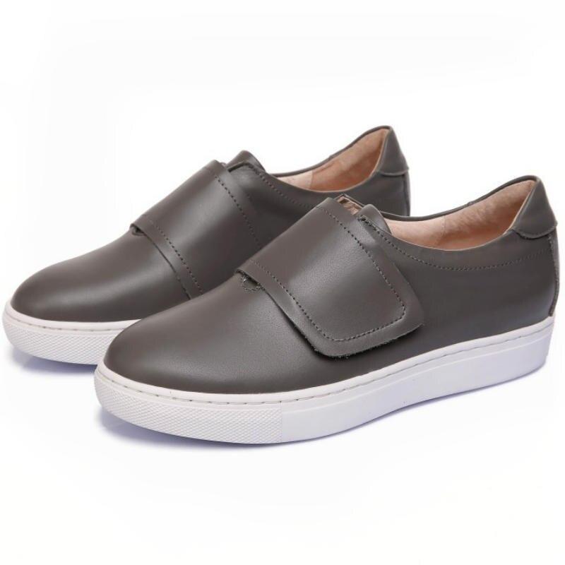 ФОТО Spring autumn fashion 2017 women Real cow leather flat heel single shoes ladies Grey black round toe casual Velcro basic flats