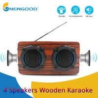 Wooden Bluetooth Speaker HIFI Wireless Dual Loudspeakers 3D Bass Surround Speaker with Karaoke function Hands free call FM radio