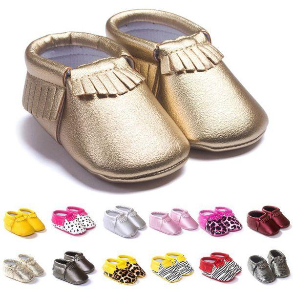 29 צבעים בייבי בנות נסיכת פעוט תינוק רך בלעדי עור מפוצל נעלי גדילים תינוק שונים חמוד מוקסין הראשון הליכונים