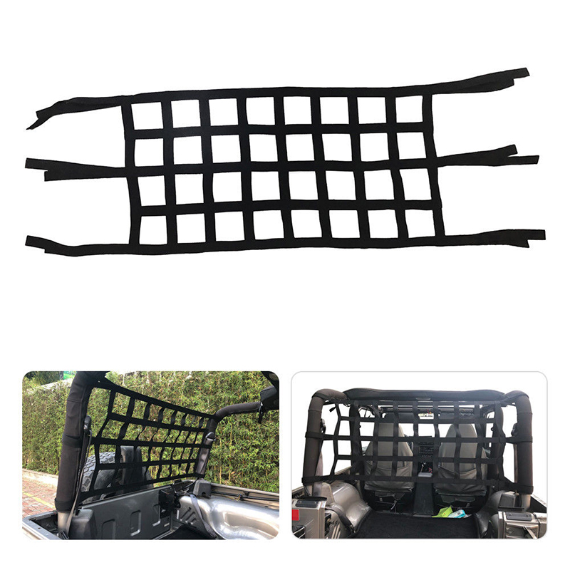 1pC argo Net Back Window Extra Car Storage Roof Net 600D Webbing Hammock For Jeep Wrangler JK TJ 1997 2017 Exterior Accessories