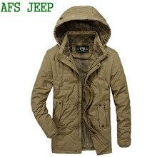 AFS JEEP men thick Arrival Very warm winter coat men jacket Fine long cotton Multi-pocket coat jacket men parka large size 155