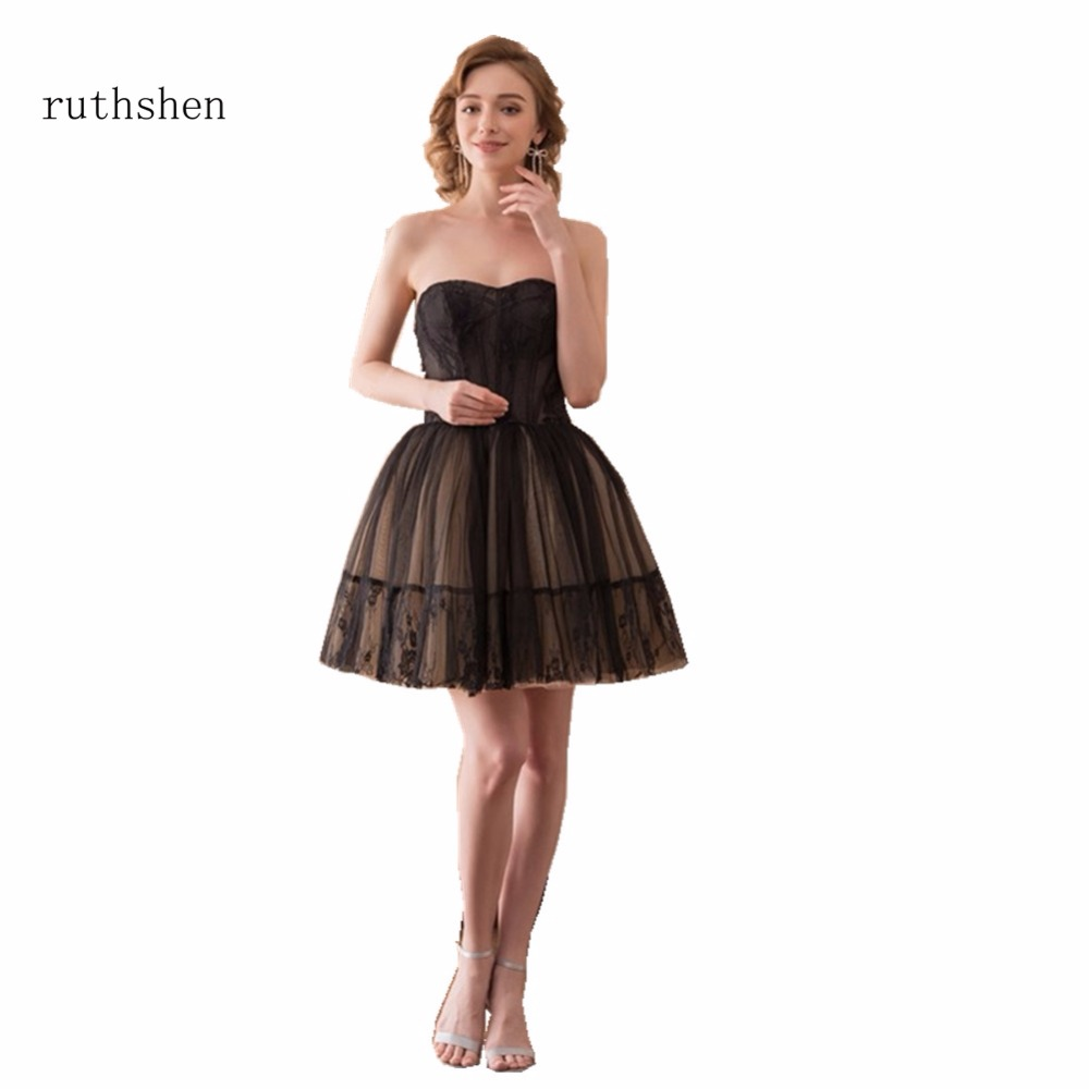 ruthshen Robe De Soiree 2018 Mini Short Champagne Black Cocktail Dresses  Sleeveless Sweetheart Neck Vestidos Coctel Party Dress 60b6249fcc9f