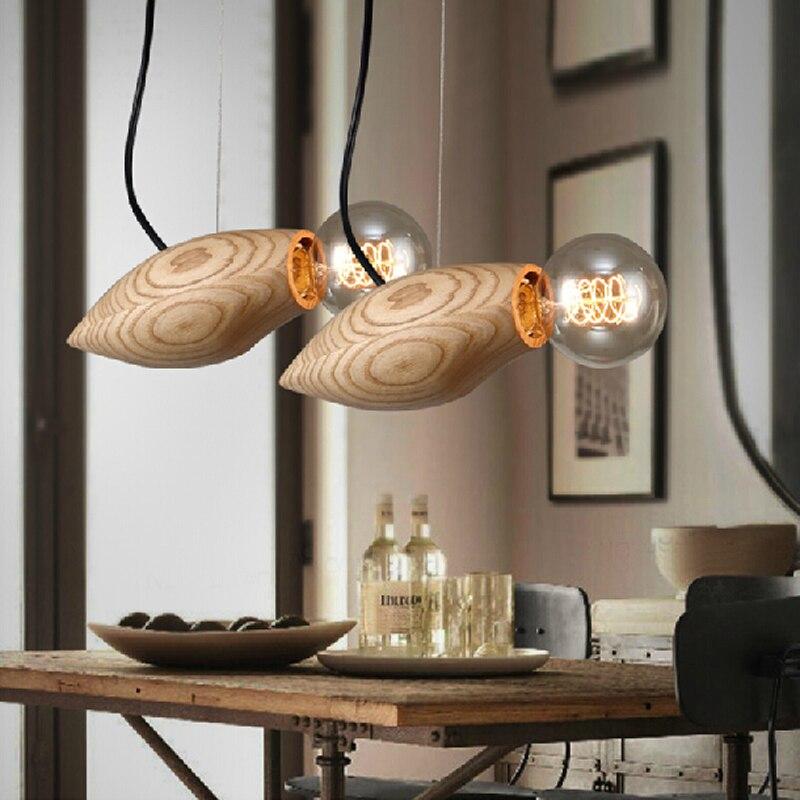 SinFull Creative wooden pendant lights bird shape home suspension lamp restaurant bedroom led bulbs hang luminaria lighting