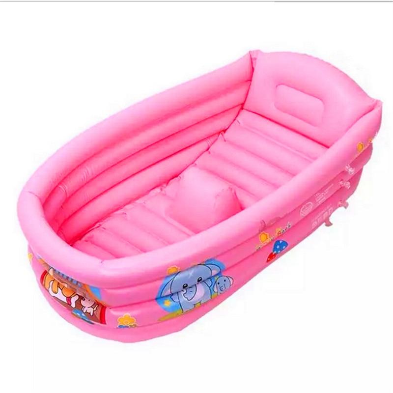 Children swimming pool summer Baby/kids bathtub inflatable Blue Foldable Shower Basin Anti-slippery Bath Pool Lmy901