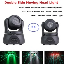 3IN1 Beam /Laser/Strobe Light 15W RGBW Double Side Moving Head Light DMX512 Dj Laser Lights Bar Party Show Stage Lighting Effect