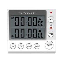 Temporizador Digital con cuenta atrás para cocina, LED intermitente de 2 canales para laboratorio electrónico, cocina, ejercicio, gimnasio, entrenamiento, cocina