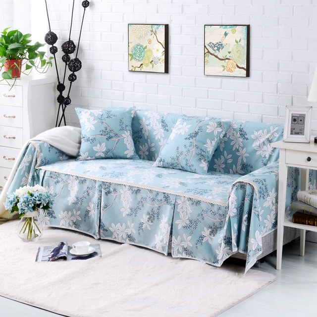 sunnyrain cotton canvas floral i shaped sofa cover sectional sofa covers slipcover couch cover table cloth : couch cover sectional - Sectionals, Sofas & Couches