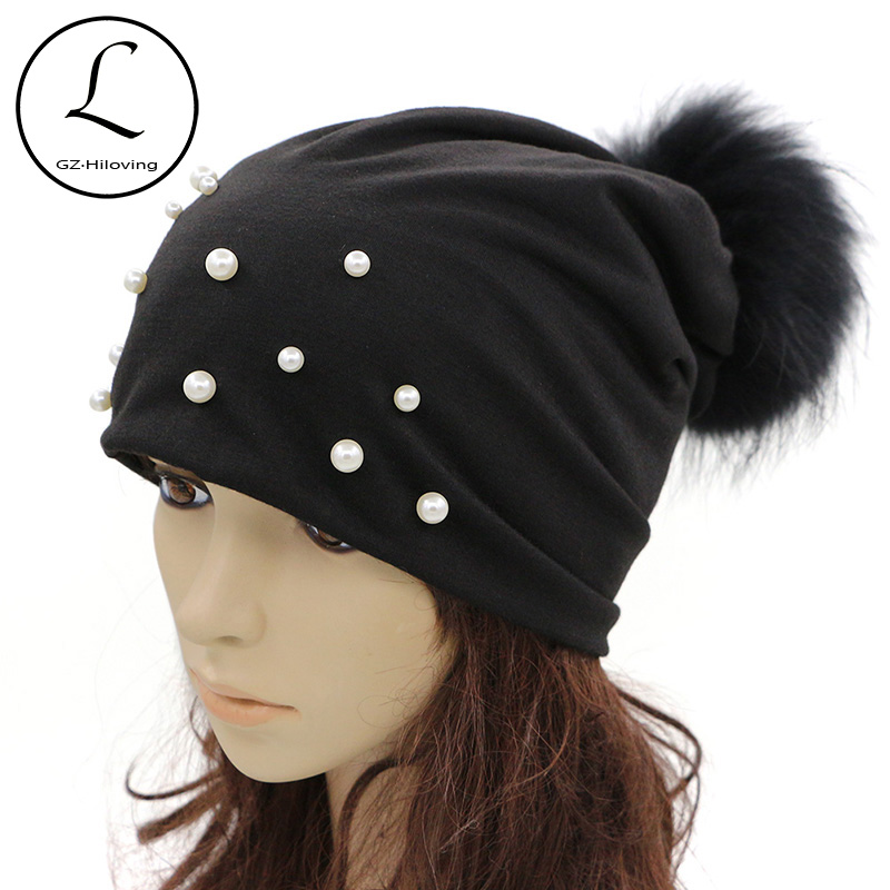 GZHILOVINGL Spring Skullies Beanies Women 2017 Luxurious Womens Beanies Hat With Big Small Pearl Fur Pom Pom Hat Female 70118 skullies