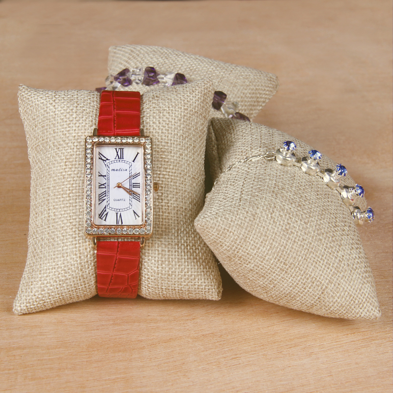 TONVIC 15 Linen Bracelet Bangle Watch Display Pillow Stand Holder