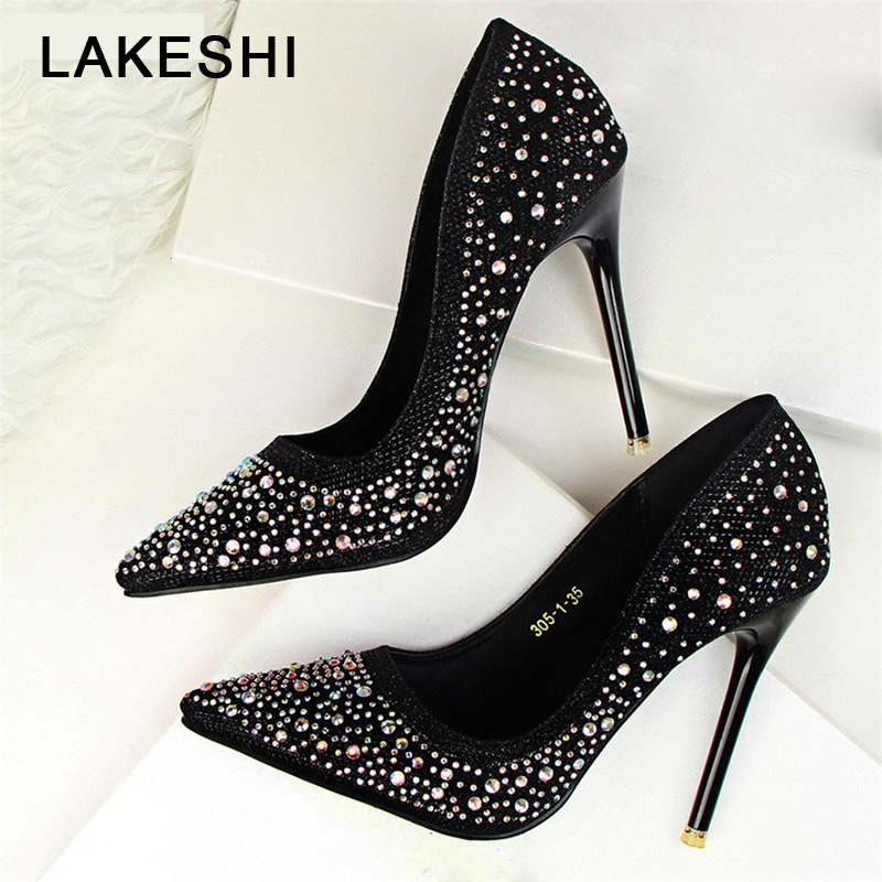 Women Pumps Diamond Women Shoes High Heels Pointed Toe Black Women Wedding Shoes Work Female Shoes