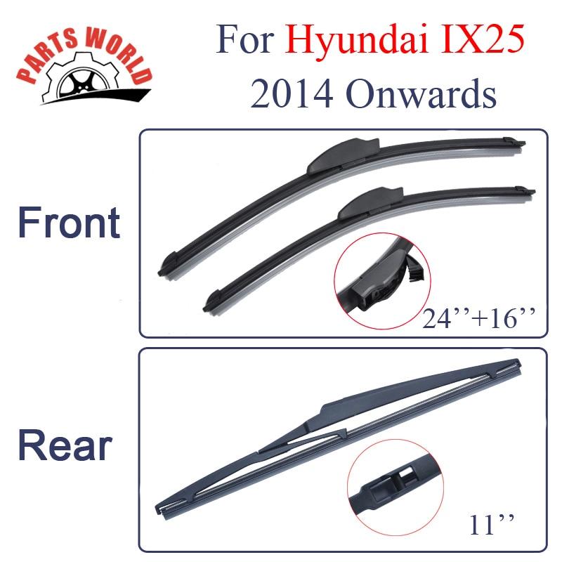 Balais d'essuie-glace avant et arrière en caoutchouc pour Hyundai IX25 2014 et suivants Essuie-glaces Accessoires de voiture