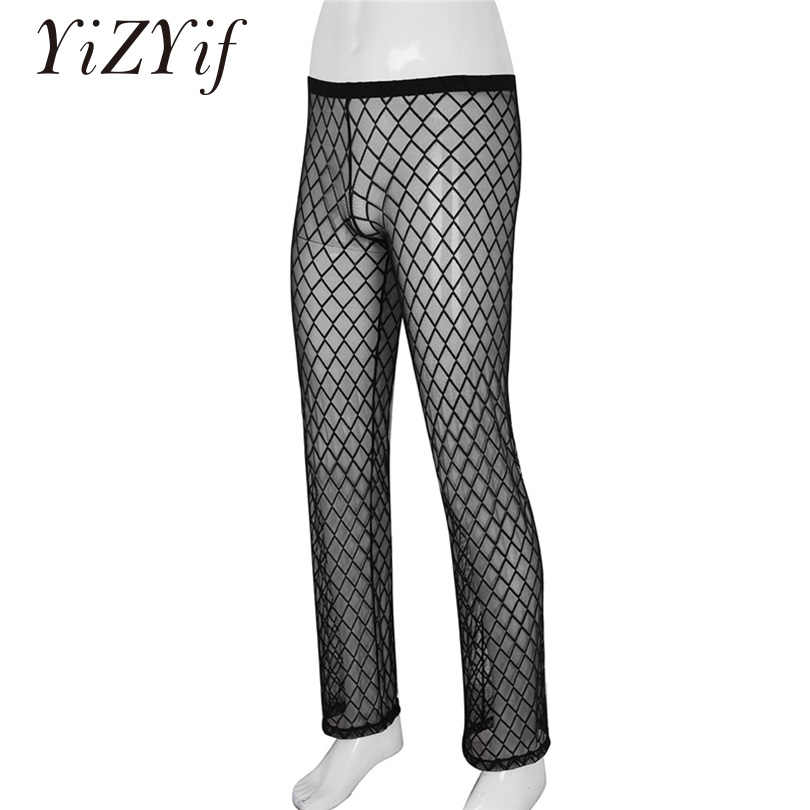 e41ac6f3a06a71 YiZYiF Mesh Men Pants Sexy Gay Men's Underwear Soft See Through Trousers Men  Sheer Home Lounge