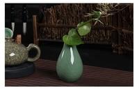Free Shipping Tradictonal Ceramic Tabletop Vase Celadon Ceramic Mini Vase Hydroponic Plants Home Furnishing Celadon Vase