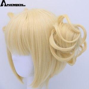 Image 4 - Anogol двойной хвост аниме My Hero Academy химико Тога крест мое тело короткий прямой блонд Синтетический Косплей парик для Хэллоуина