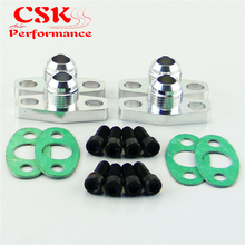 4 Pcs Turbo Oil Drain Outlet Flange Gasket Adapter Kit 10AN Male Fitting T3 T4 Black/Silver