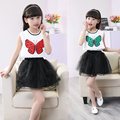New Girls Dress Fashion Butterfly Appliques Cotton Party Pageant Casual Baby Kids Clothing Dress Summer 2016 Size 4-12