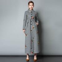 Осень зима Для женщин толстые шерстяные пальто Стенд воротник вышивка ретро тонкий длинное пальто шерстяные элегантное сочетание верхняя