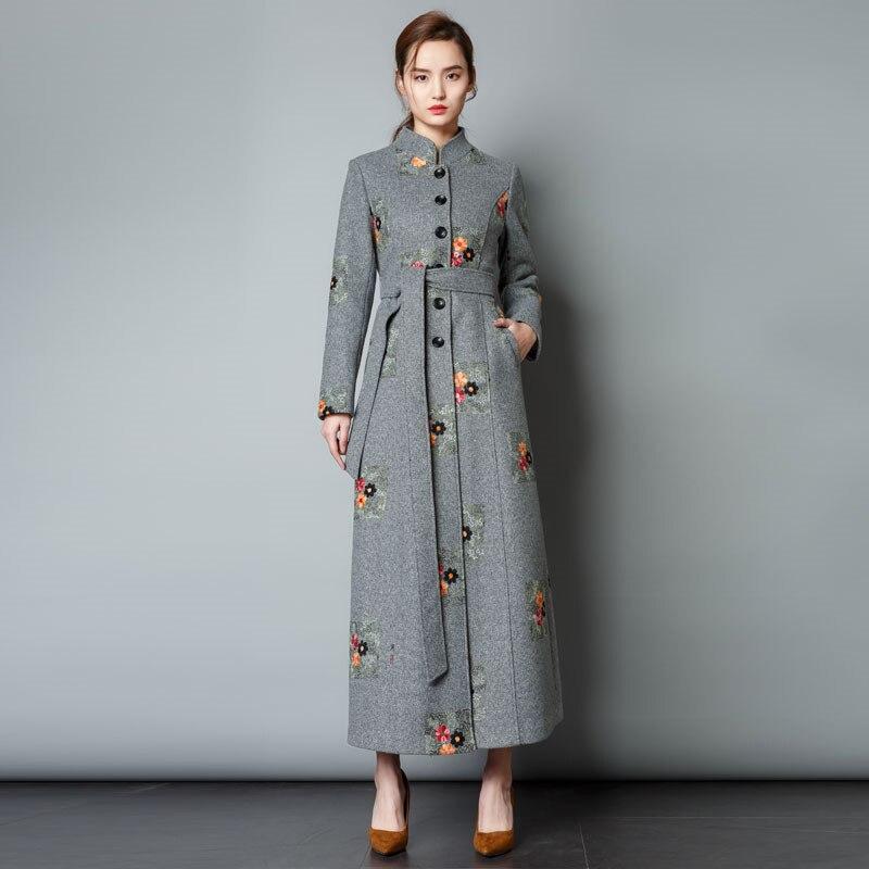 Осень зима, Женское шерстяное плотное пальто, воротник стойка, вышивка, Ретро стиль, тонкое длинное пальто, шерстяное элегантное пальто, вер