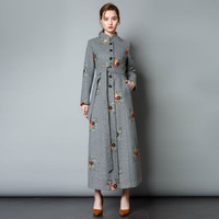 Autumn Winter Women's Woolen Thick Coat Stand Collar Embroidery Retro Slim Long Coat Woolen Elegant Blend Outerwear Jackets S108