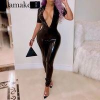 Glamaker Sexy pu deep v neck black jumpsuit Women bodycon long playsuit overalls Streetwear short sleeve ladies jumpsuits romper