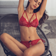 581265f5cd145 Ultra Thin Lace Sexy Bikini Perspective Three-point Seductive Lingerie Wire  Free Open Bra Crotchless