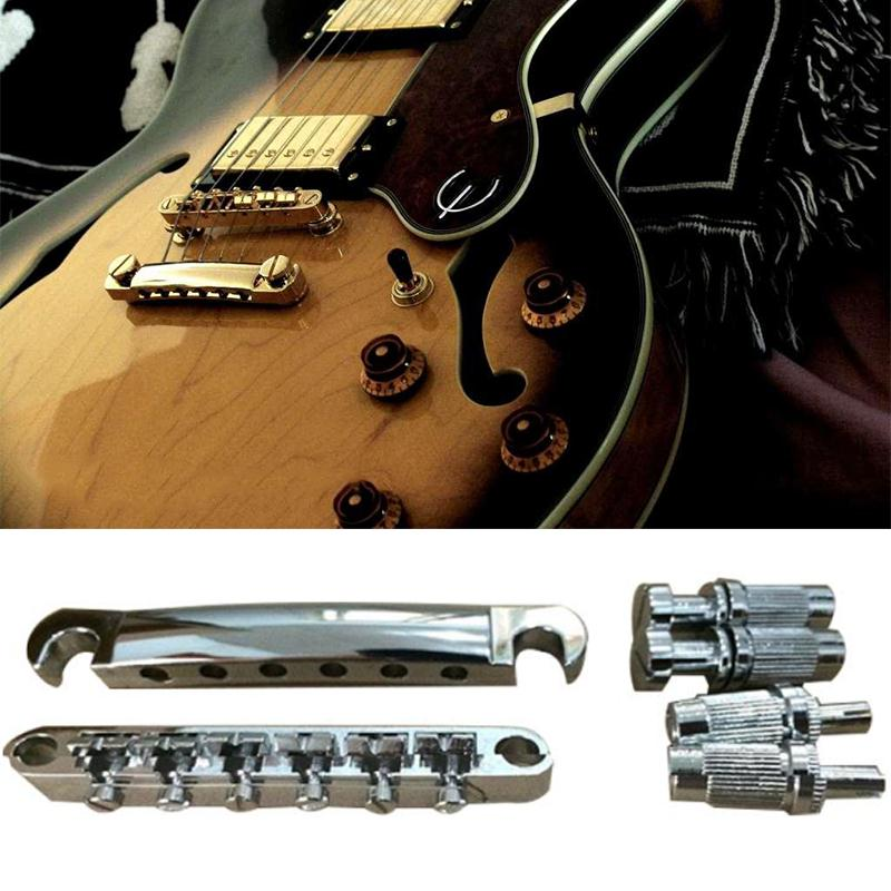Guitar Bridge Locking Roller Tune-O-Matic Bridge And Tailpiece Silver Set For LP Electric Guitar Replacement Parts kaish lp tune o matic roller saddle bridge tailpiece stopbar set for lp gold