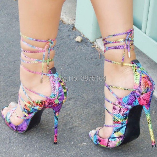 Summer Women Lace Up Sandals High Heel Shoes Sexy Female Ladies Open Toe Stiletto Heel In Purple and Green Gladiator Sandal