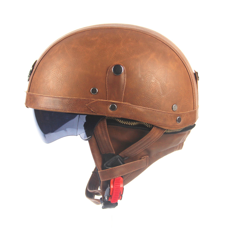 Adult Leather Helmets For Motorcycle Retro Half Cruise ...