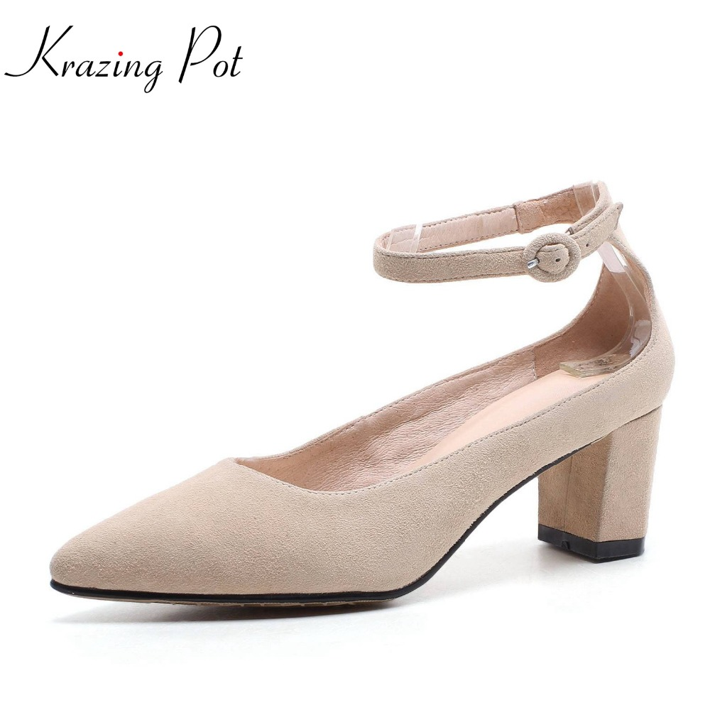 Krazing pot 2018 kid suede women pumps office lady simple sweet style high heels buckle straps pointed toe solid shoes women L39 krazing pot shallow sheep suede metal buckle thick high heels pointed toe pumps princess style solid office lady work shoes l05
