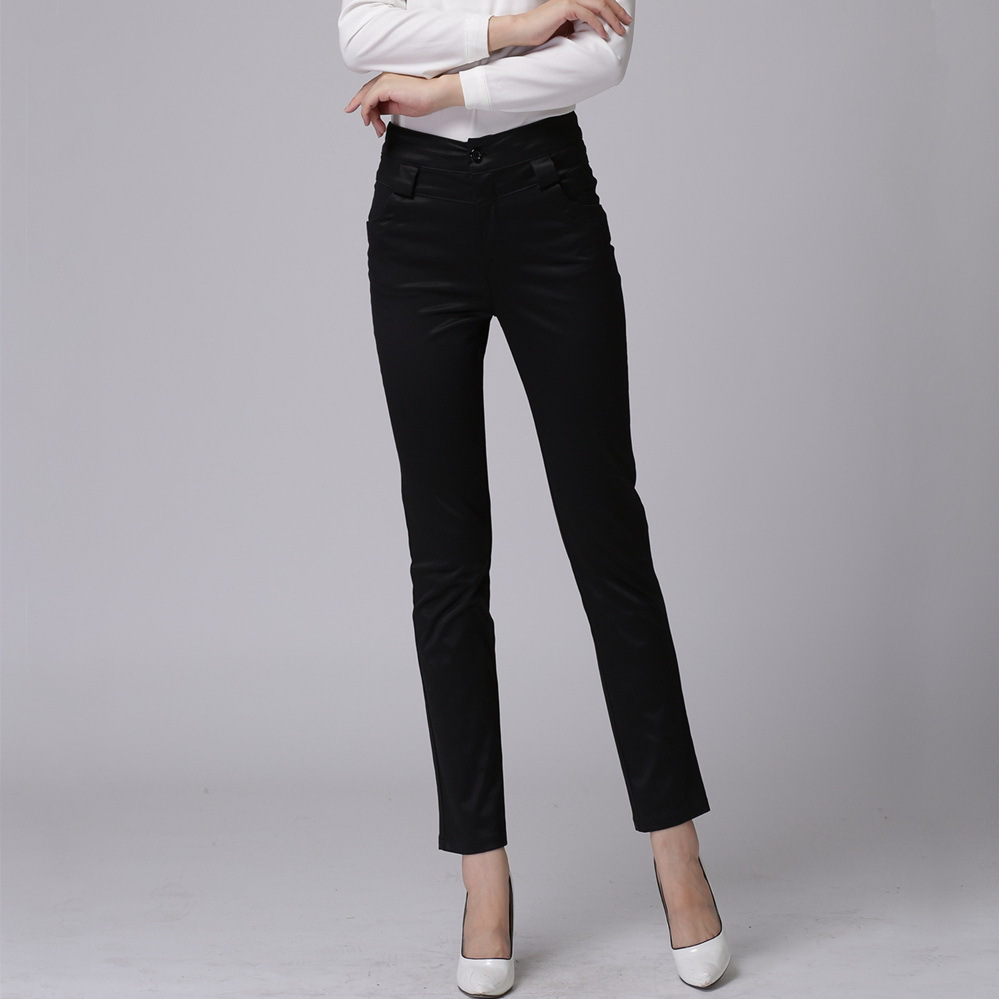 Online Shop OL Style Office Ladies Formal Pants Lustrous Black ...