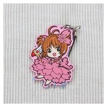 Anime Keychain Sakura Card Captor Kinomoto Pink Sakura Keyring Phone strap keychain Gift Collect De Llavero kulcstarto