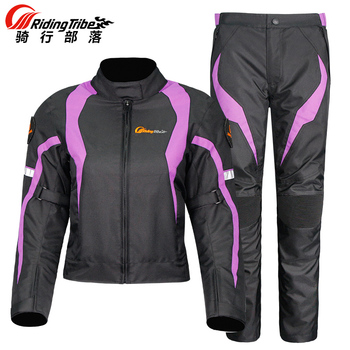 Riding Tribe Women's Motorcycle Jacket Waterproof Protective Gear Jacket & Moto Pants Suit Jacket Touring Motorbike Clothing Set