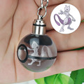 Mewtwo Novelty Mini Portable Pokemon Go Engraving Round 3D Crystal Glass Ball LED Keychain Colorful Pendant Child Christmas Gift