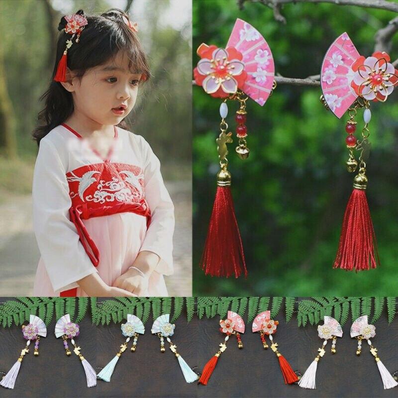 Chinese Style Fan Shape Tassel Hairpin Kanzashi Hair Clip Kids Gift Kimono Decor