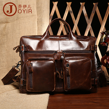 Free shipping Fashion genuine leather man bag male waxing oil vintage leather travel bag handbag cross-body bag chocolate