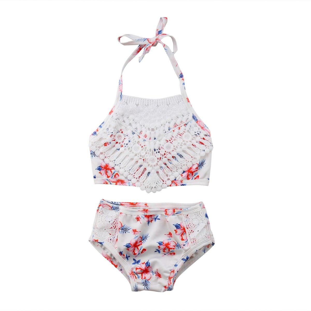 2Pcs Toddler Baby Girl Lace Swimwear Bathing Suit Bikini Outfits Swimsuit Sets Купальник