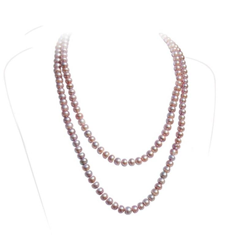 RUNZHUQIYUAN 2017 100% collier long de perles d'eau douce naturelles couleur pourpre 7-8-9-10mm perle bijoux de mariage pour les femmes meilleur cadeau - 2