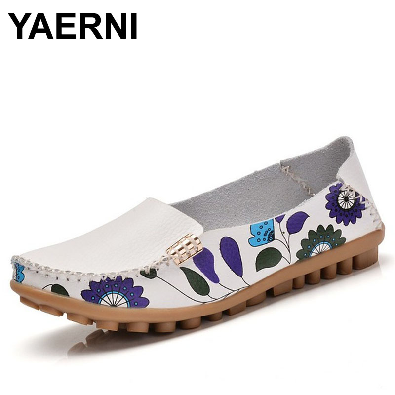 YAERNI 2017 Spring women genuine leather shoes slip on ballet women flats print woman shoes 4 colors moccasins loafers shoes 170 2017 metal head women shoes genuine leather oxford shoes for women flats shoes woman moccasins ballet flats zapatos mujer z464